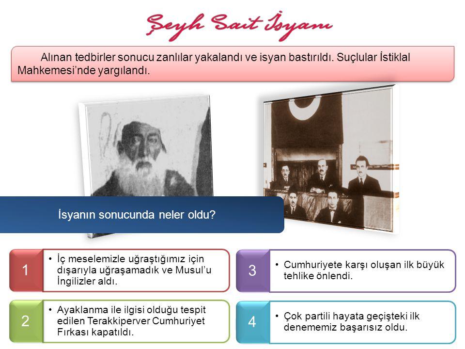 İsyanı Fethi Bey bastıramayınca, Mustafa Kemal Paşa'nın baskısı ile istifa etti ve yerine ben başbakan oldum. İsyanı bastırmak için sıkı tedbirler ald