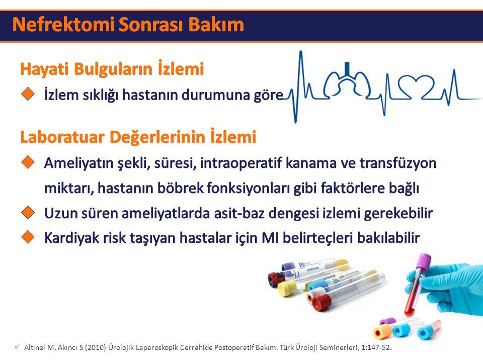 Altınel M, Akıncı S (2010) Ürolojik Laparoskopik Cerrahide Postoperatif Bakım. Türk Üroloji Seminerleri, 1:147-52.