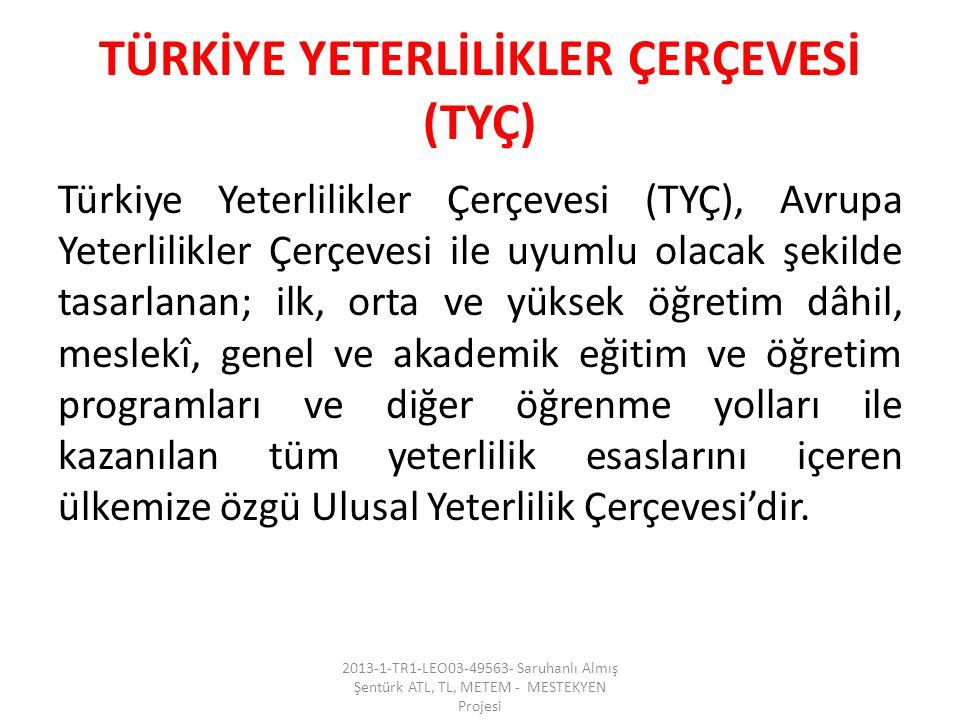 TÜRKİYE YETERLİLİKLER ÇERÇEVESİ (TYÇ) Türkiye Yeterlilikler Çerçevesi (TYÇ), Avrupa Yeterlilikler Çerçevesi ile uyumlu olacak şekilde tasarlanan; ilk,