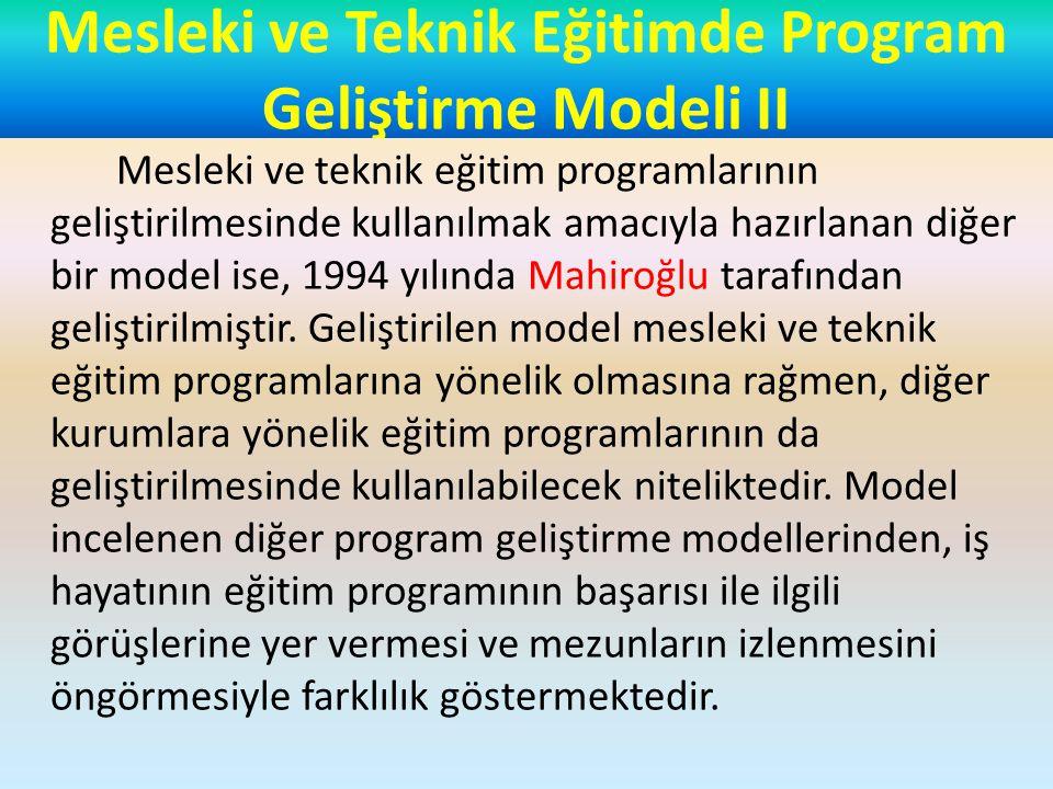 Mesleki ve Teknik Eğitimde Program Geliştirme Modeli II Mesleki ve teknik eğitim programlarının geliştirilmesinde kullanılmak amacıyla hazırlanan diğer bir model ise, 1994 yılında Mahiroğlu tarafından geliştirilmiştir.
