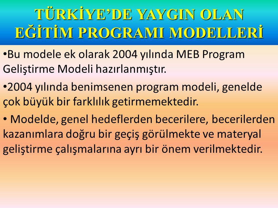 TÜRKİYE'DE YAYGIN OLAN EĞİTİM PROGRAMI MODELLERİ Bu modele ek olarak 2004 yılında MEB Program Geliştirme Modeli hazırlanmıştır.