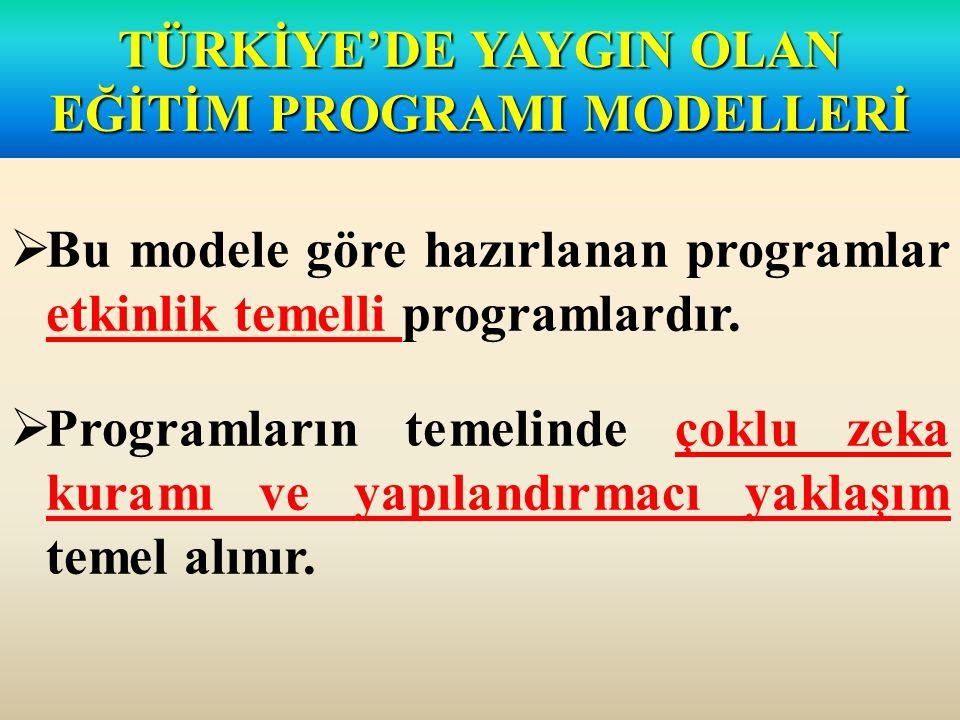  Bu modele göre hazırlanan programlar etkinlik temelli programlardır.