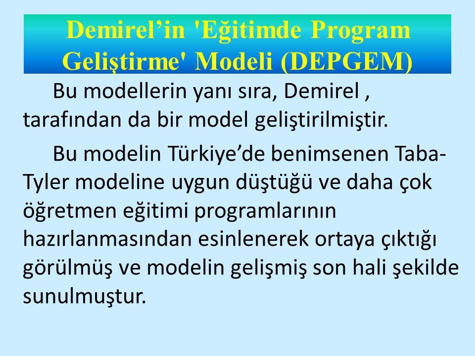 Demirel'in Eğitimde Program Geliştirme Modeli (DEPGEM) Bu modellerin yanı sıra, Demirel, tarafından da bir model geliştirilmiştir.