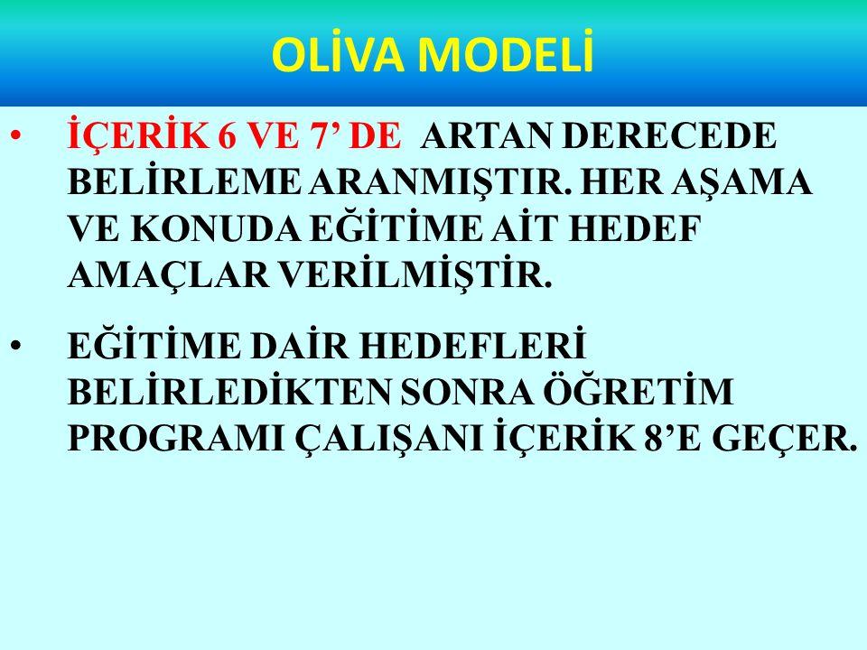 OLİVA MODELİ İÇERİK 6 VE 7' DE ARTAN DERECEDE BELİRLEME ARANMIŞTIR.