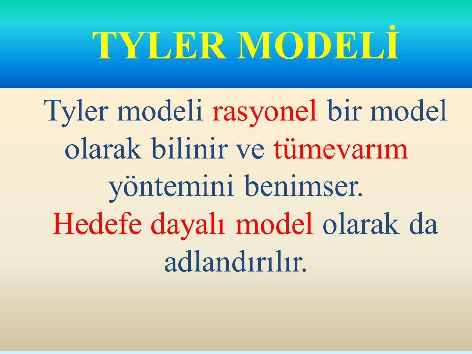 TYLER MODELİ Tyler modeli rasyonel bir model olarak bilinir ve tümevarım yöntemini benimser.