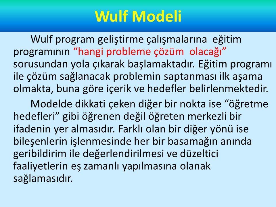 Wulf program geliştirme çalışmalarına eğitim programının hangi probleme çözüm olacağı sorusundan yola çıkarak başlamaktadır.