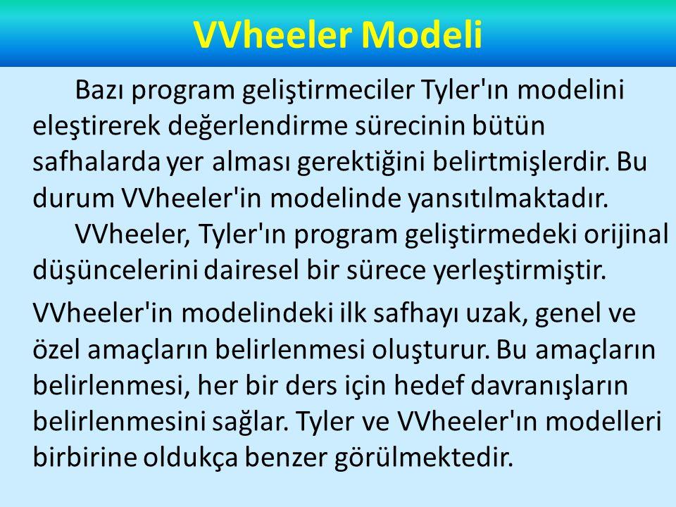 VVheeler Modeli Bazı program geliştirmeciler Tyler ın modelini eleştirerek değerlendirme sürecinin bütün safhalarda yer alması gerektiğini belirtmişlerdir.