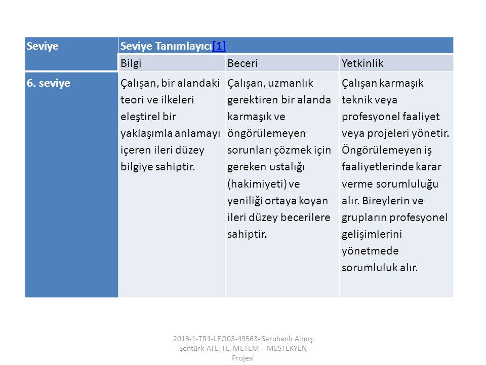 SeviyeSeviye Tanımlayıcı[1][1] BilgiBeceriYetkinlik 6.