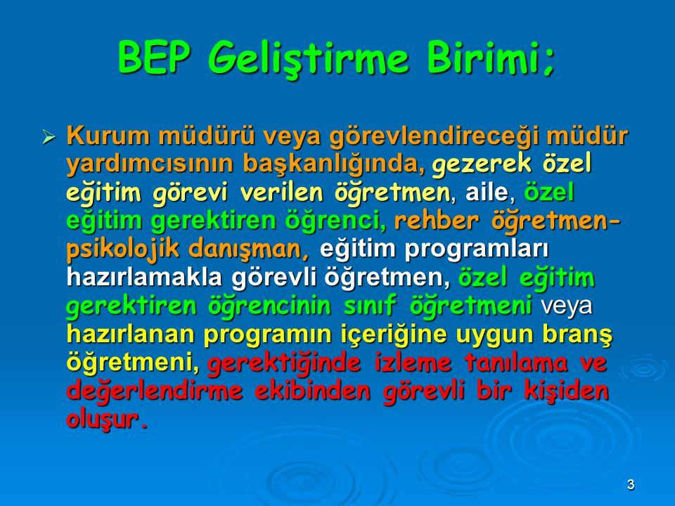 3 BEP Geliştirme Birimi;  Kurum müdürü veya görevlendireceği müdür yardımcısının başkanlığında, gezerek özel eğitim görevi verilen öğretmen, aile, öz