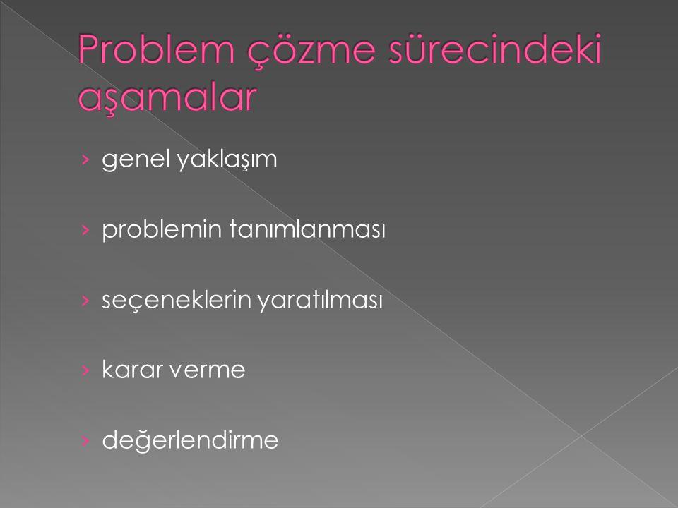 › genel yaklaşım › problemin tanımlanması › seçeneklerin yaratılması › karar verme › değerlendirme