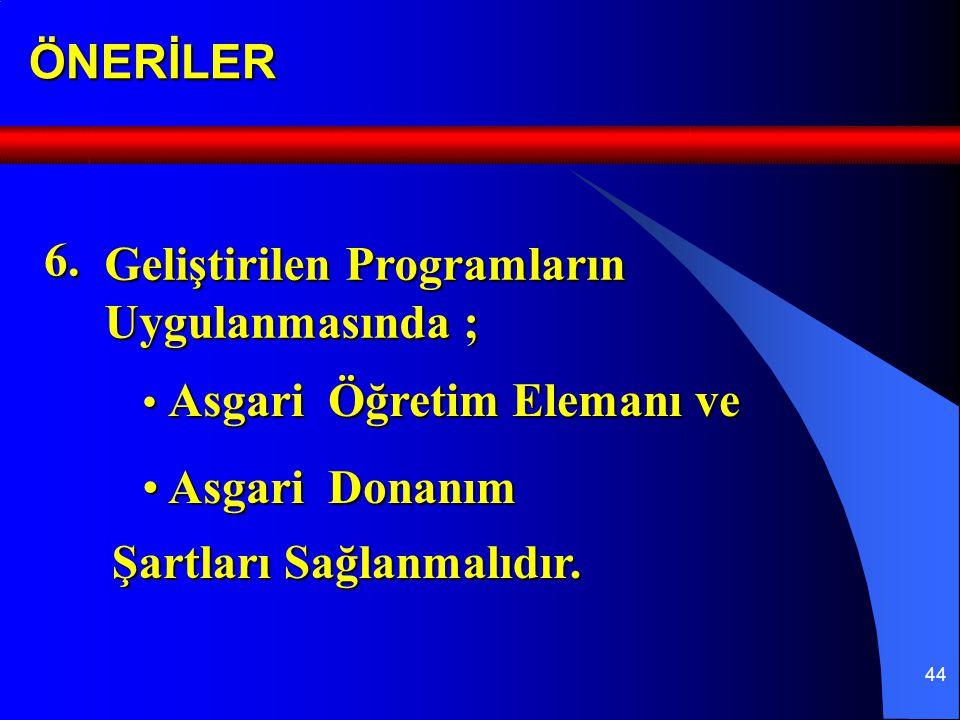 44ÖNERİLER Geliştirilen Programların Uygulanmasında ; 6.