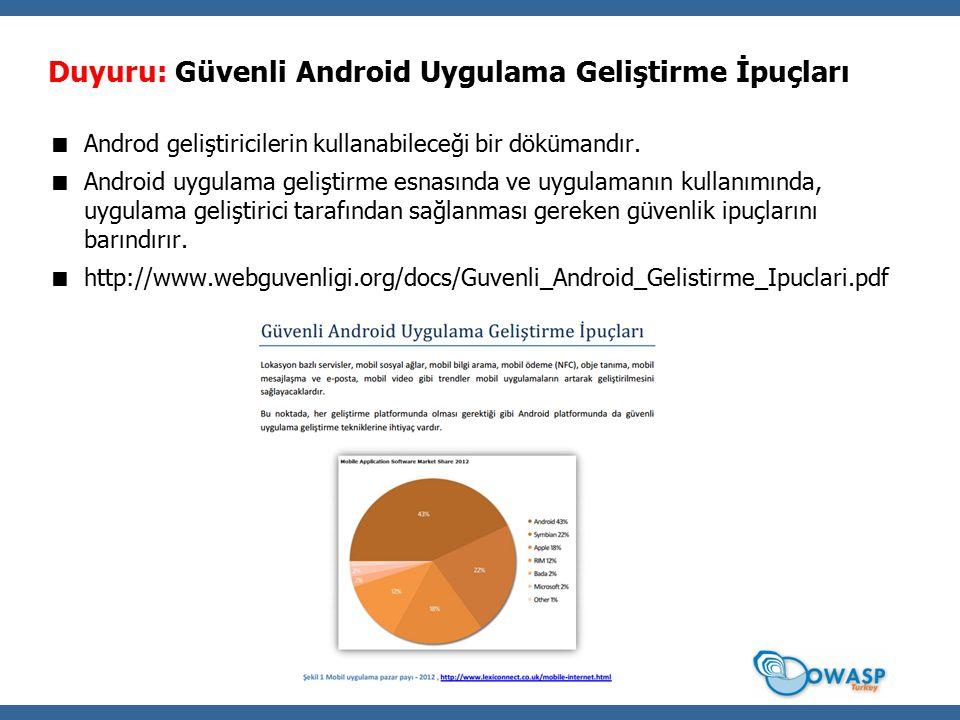 Duyuru: Güvenli Android Uygulama Geliştirme İpuçları  Androd geliştiricilerin kullanabileceği bir dökümandır.