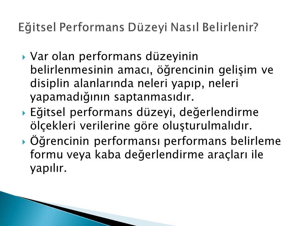  Var olan performans düzeyinin belirlenmesinin amacı, öğrencinin gelişim ve disiplin alanlarında neleri yapıp, neleri yapamadığının saptanmasıdır.