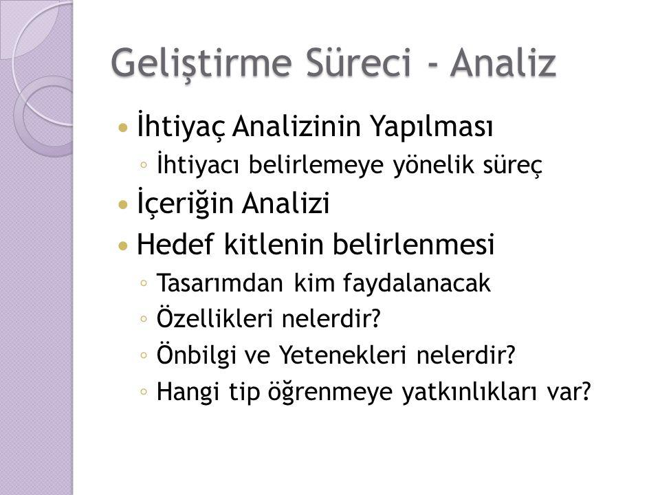 Geliştirme Süreci - Analiz İhtiyaç Analizinin Yapılması ◦ İhtiyacı belirlemeye yönelik süreç İçeriğin Analizi Hedef kitlenin belirlenmesi ◦ Tasarımdan