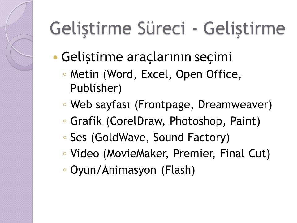 Geliştirme Süreci - Geliştirme Geliştirme araçlarının seçimi ◦ Metin (Word, Excel, Open Office, Publisher) ◦ Web sayfası (Frontpage, Dreamweaver) ◦ Gr