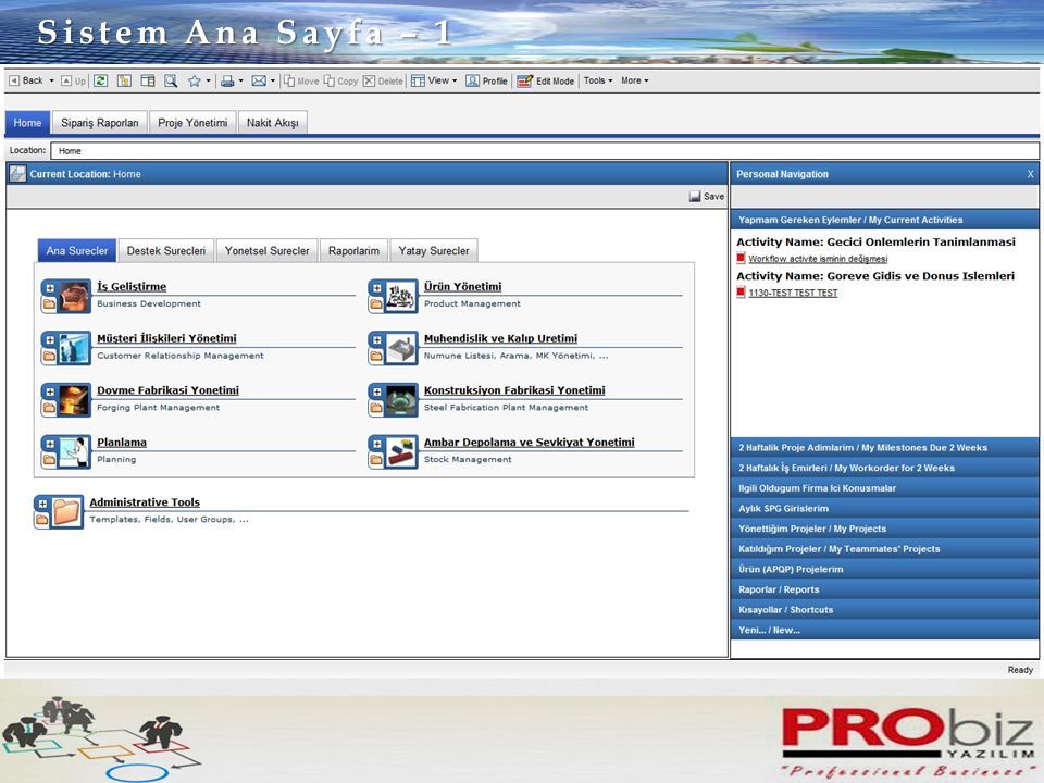 Sistem Ana Sayfa – 1