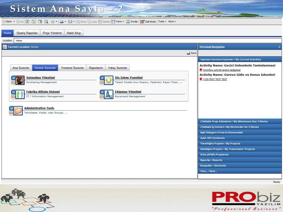 Sistem Ana Sayfa – 2