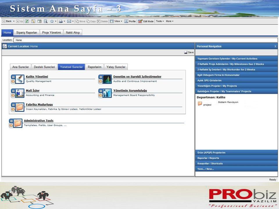 Sistem Ana Sayfa – 3