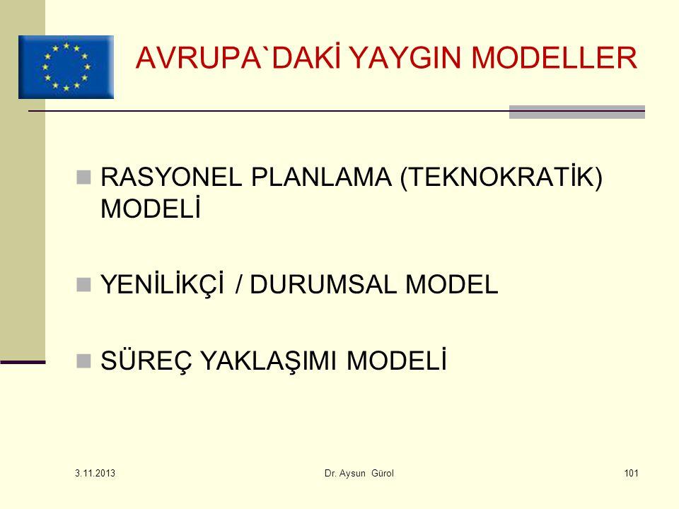 RASYONEL PLANLAMA (TEKNOKRATİK) MODELİ YENİLİKÇİ / DURUMSAL MODEL SÜREÇ YAKLAŞIMI MODELİ AVRUPA`DAKİ YAYGIN MODELLER 3.11.2013 Dr. Aysun Gürol101
