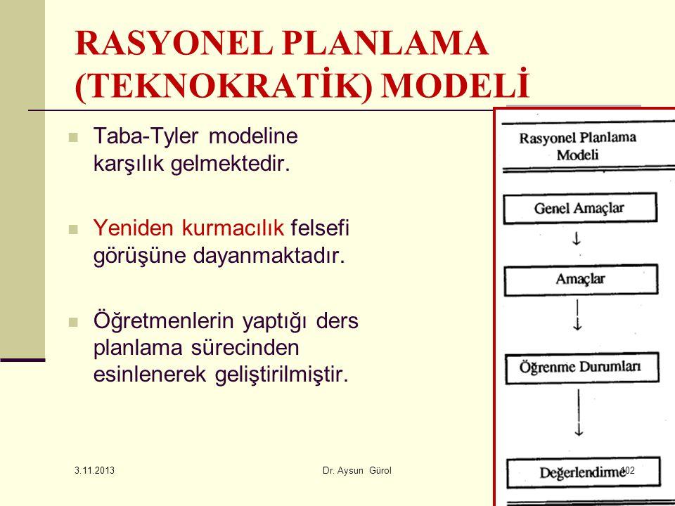 Taba-Tyler modeline karşılık gelmektedir. Yeniden kurmacılık felsefi görüşüne dayanmaktadır. Öğretmenlerin yaptığı ders planlama sürecinden esinlenere