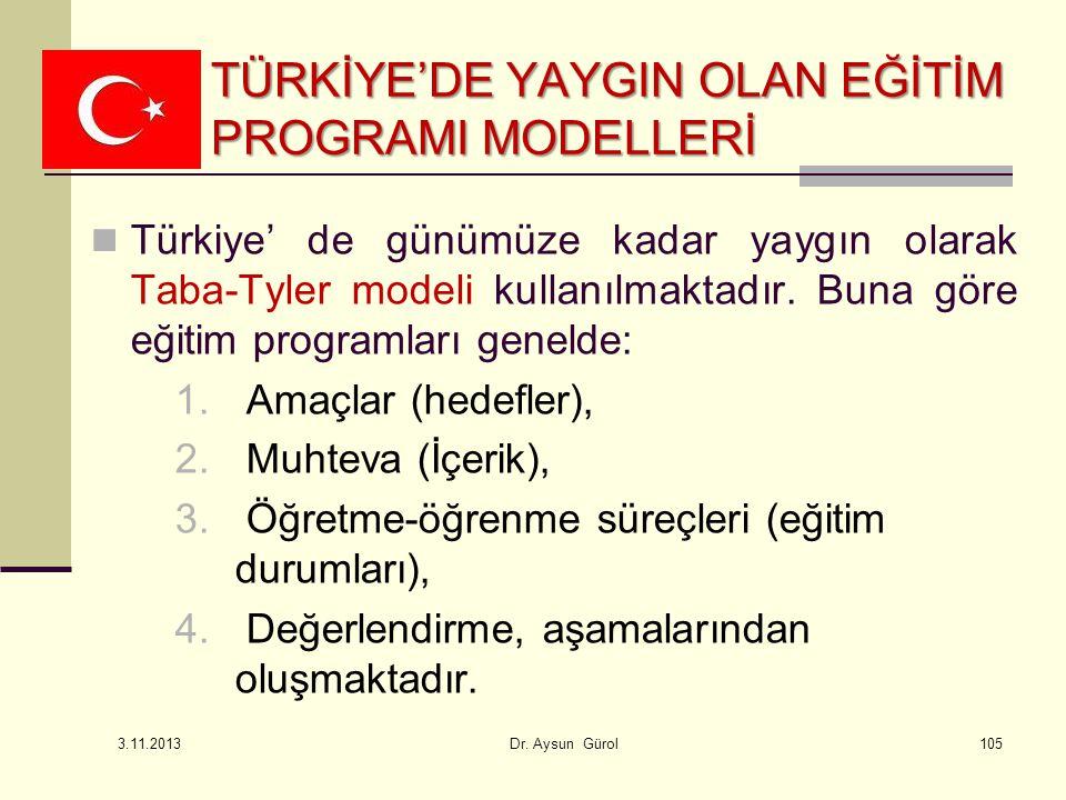 Türkiye' de günümüze kadar yaygın olarak Taba-Tyler modeli kullanılmaktadır. Buna göre eğitim programları genelde: 1. Amaçlar (hedefler), 2. Muhteva (