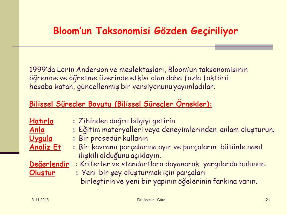 Bloom'un Taksonomisi Gözden Geçiriliyor 1999'da Lorin Anderson ve meslektaşları, Bloom'un taksonomisinin öğrenme ve öğretme üzerinde etkisi olan daha fazla faktörü hesaba katan, güncellenmiş bir versiyonunu yayımladılar.
