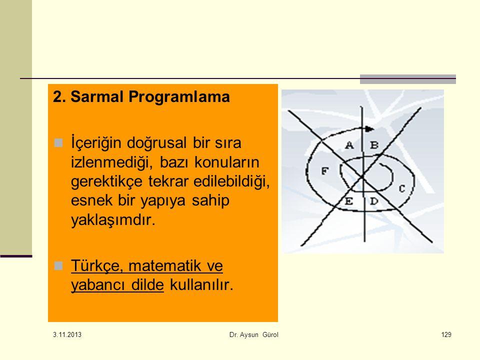 129 2. Sarmal Programlama İçeriğin doğrusal bir sıra izlenmediği, bazı konuların gerektikçe tekrar edilebildiği, esnek bir yapıya sahip yaklaşımdır. T