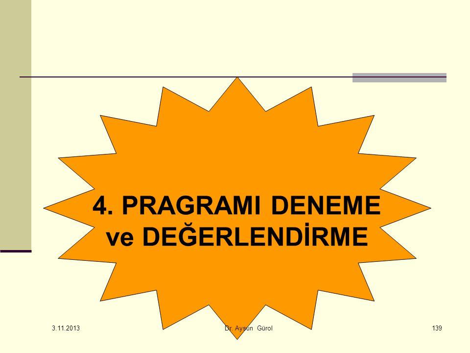 4. PRAGRAMI DENEME ve DEĞERLENDİRME 139 3.11.2013 Dr. Aysun Gürol
