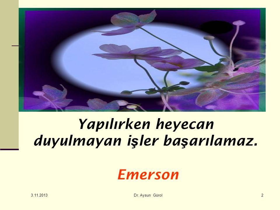 2 Yapılırken heyecan duyulmayan i ş ler ba ş arılamaz. Emerson 3.11.2013 Dr. Aysun Gürol