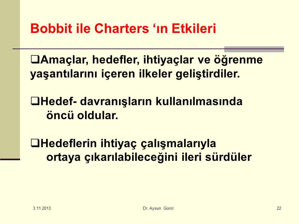 Bobbit ile Charters 'ın Etkileri  Amaçlar, hedefler, ihtiyaçlar ve öğrenme yaşantılarını içeren ilkeler geliştirdiler.  Hedef- davranışların kullanı