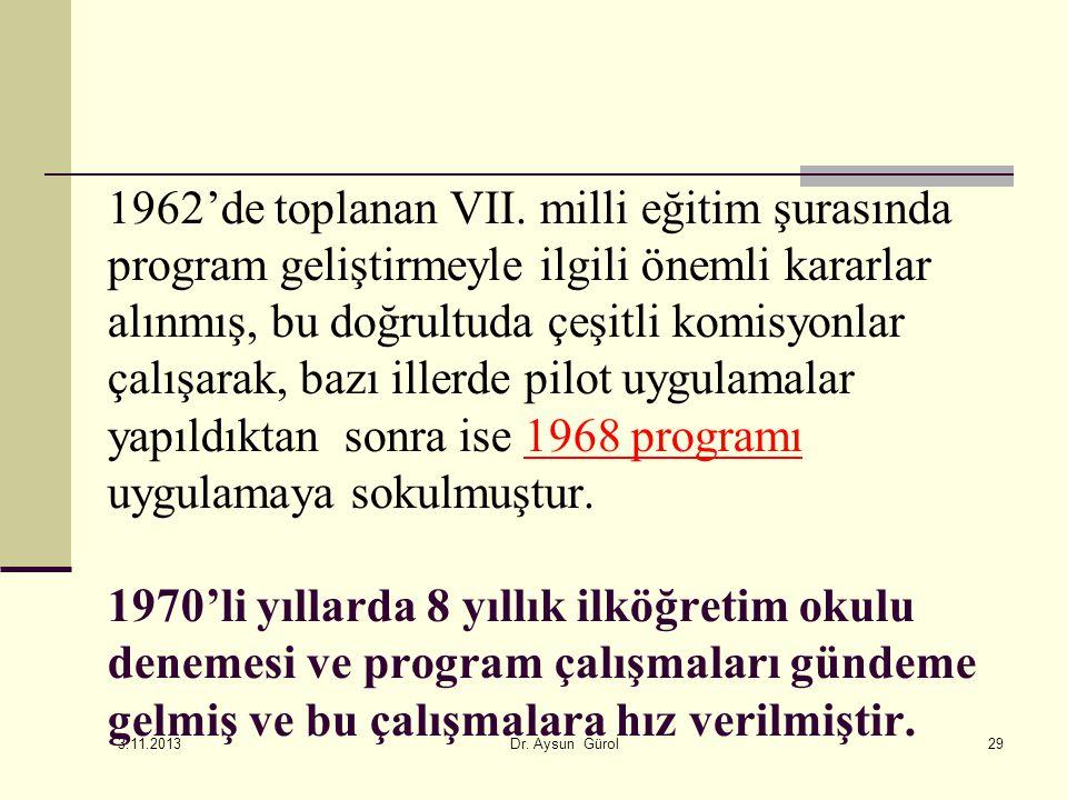 1962'de toplanan VII. milli eğitim şurasında program geliştirmeyle ilgili önemli kararlar alınmış, bu doğrultuda çeşitli komisyonlar çalışarak, bazı i