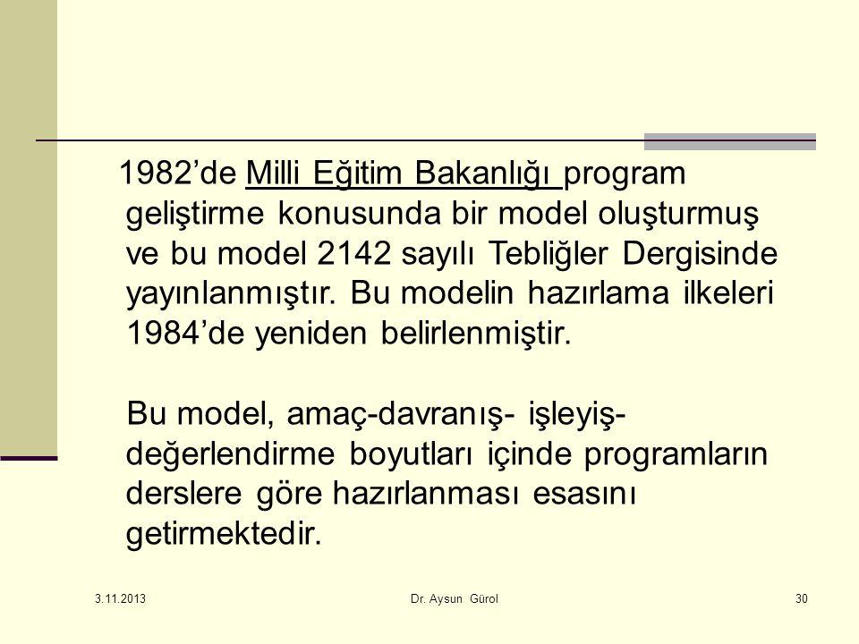 1982'de Milli Eğitim Bakanlığı program geliştirme konusunda bir model oluşturmuş ve bu model 2142 sayılı Tebliğler Dergisinde yayınlanmıştır.