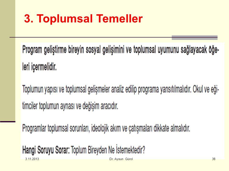 38 3. Toplumsal Temeller 3.11.2013 Dr. Aysun Gürol