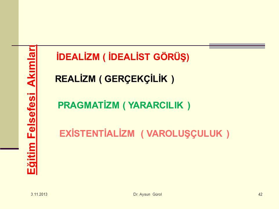 Eğitim Felsefesi Akımları İDEALİZM ( İDEALİST GÖRÜŞ) REALİZM ( GERÇEKÇİLİK ) PRAGMATİZM ( YARARCILIK ) EXİSTENTİALİZM ( VAROLUŞÇULUK ) 42 3.11.2013 Dr