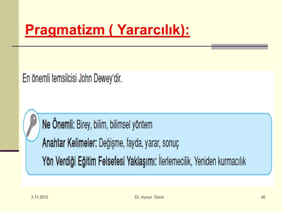 Pragmatizm ( Yararcılık): 46 3.11.2013 Dr. Aysun Gürol