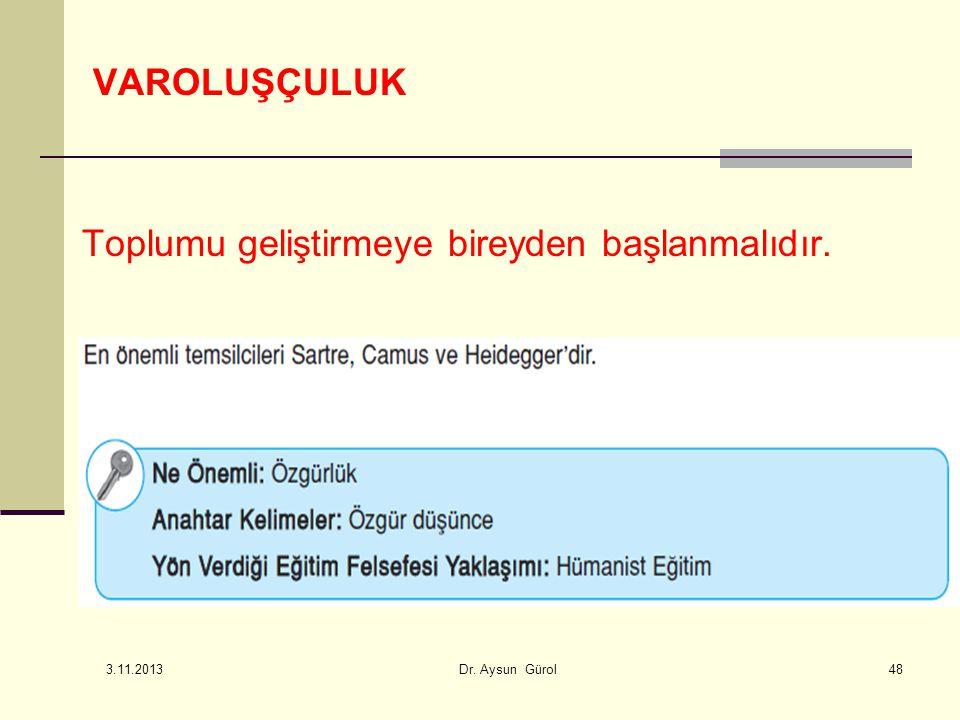 VAROLUŞÇULUK Toplumu geliştirmeye bireyden başlanmalıdır. 48 3.11.2013 Dr. Aysun Gürol