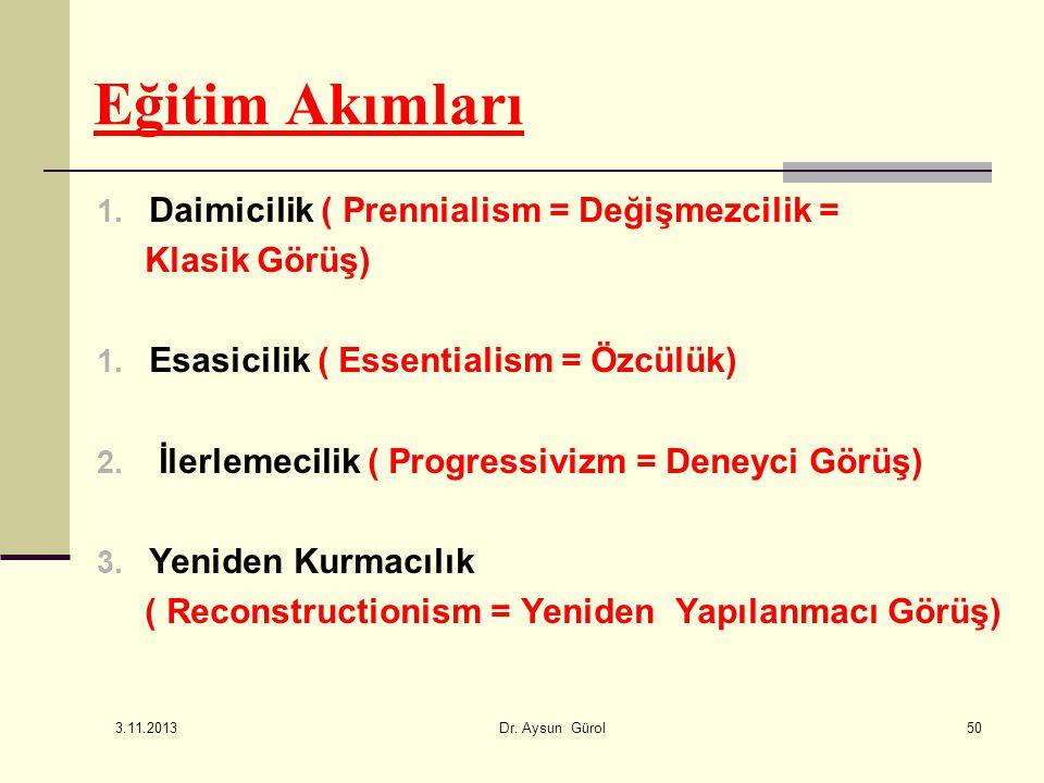 Eğitim Akımları 1. Daimicilik ( Prennialism = Değişmezcilik = Klasik Görüş) 1. Esasicilik ( Essentialism = Özcülük) 2. İlerlemecilik ( Progressivizm =