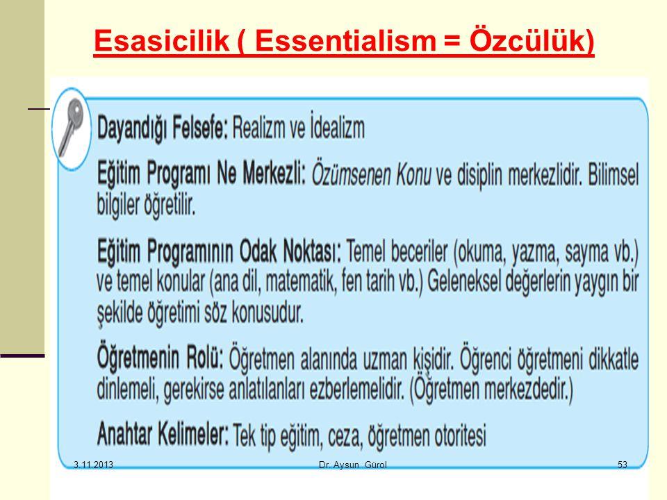 Esasicilik ( Essentialism = Özcülük) 53 3.11.2013 Dr. Aysun Gürol