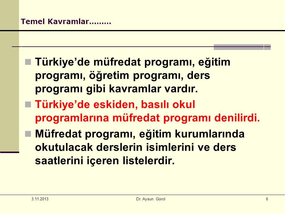 6 Temel Kavramlar……… Türkiye'de müfredat programı, eğitim programı, öğretim programı, ders programı gibi kavramlar vardır. Türkiye'de eskiden, basılı