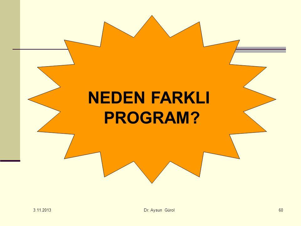 NEDEN FARKLI PROGRAM? 60 3.11.2013 Dr. Aysun Gürol