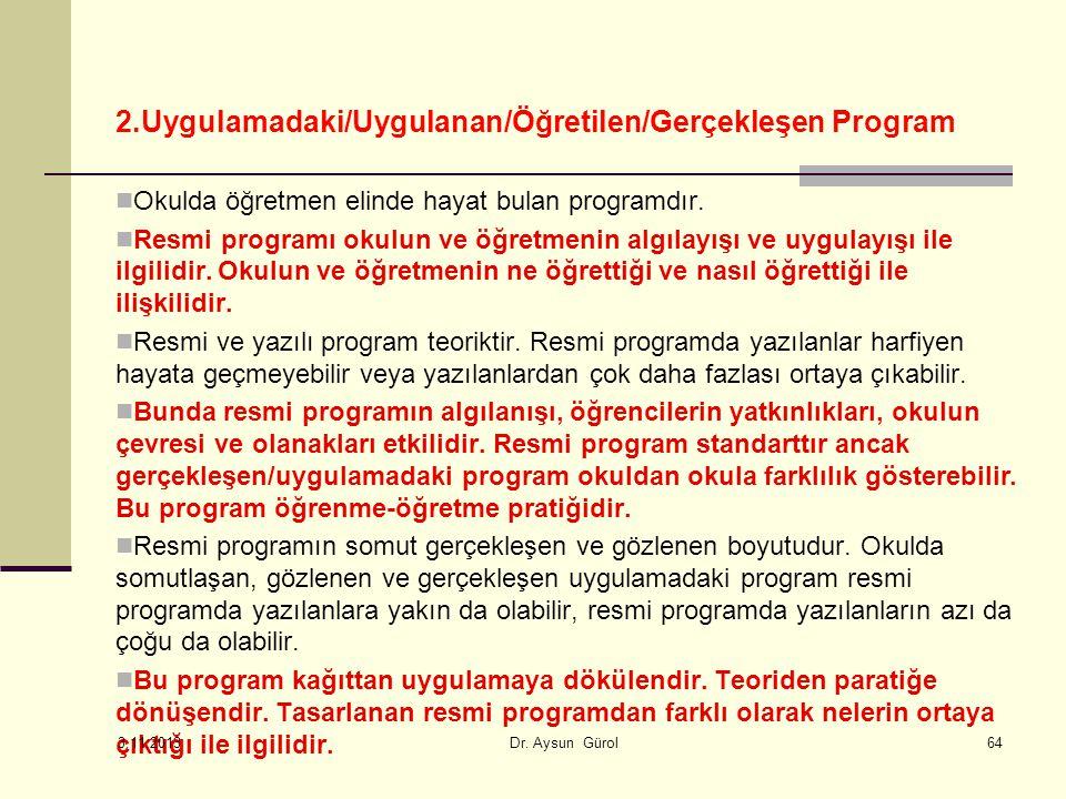 2.Uygulamadaki/Uygulanan/Öğretilen/Gerçekleşen Program Okulda öğretmen elinde hayat bulan programdır.