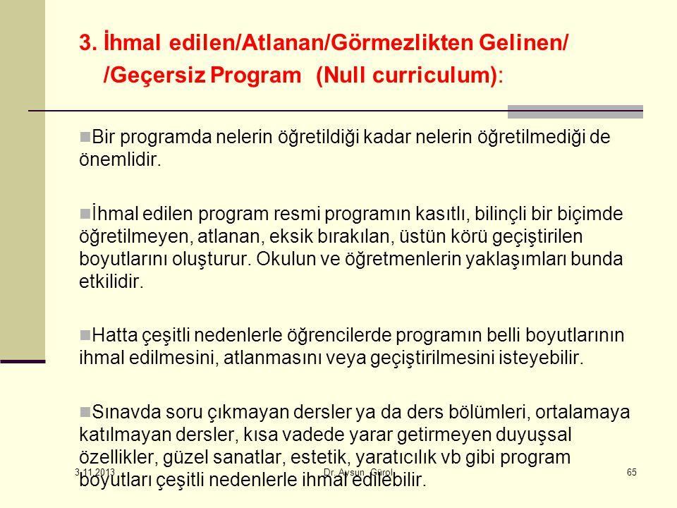3. İhmal edilen/Atlanan/Görmezlikten Gelinen/ /Geçersiz Program (Null curriculum): Bir programda nelerin öğretildiği kadar nelerin öğretilmediği de ön