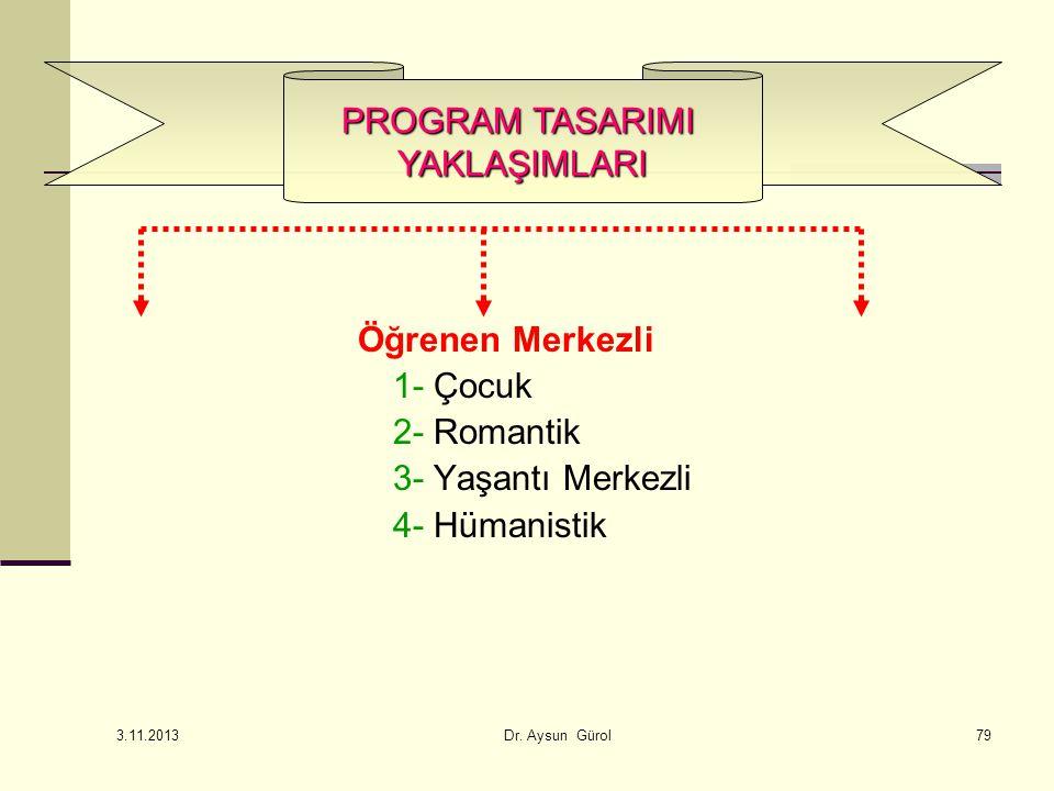 Öğrenen Merkezli 1- Çocuk 2- Romantik 3- Yaşantı Merkezli 4- Hümanistik PROGRAM TASARIMI YAKLAŞIMLARI 79 3.11.2013 Dr.