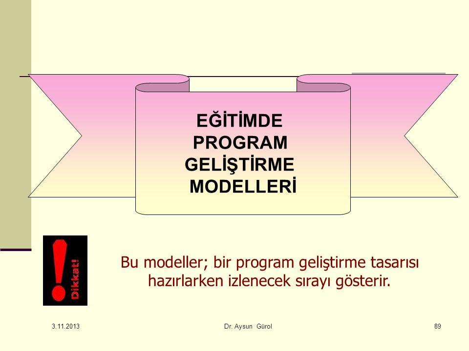Bu modeller; bir program geliştirme tasarısı hazırlarken izlenecek sırayı gösterir. EĞİTİMDE PROGRAM GELİŞTİRME MODELLERİ 89 3.11.2013 Dr. Aysun Gürol