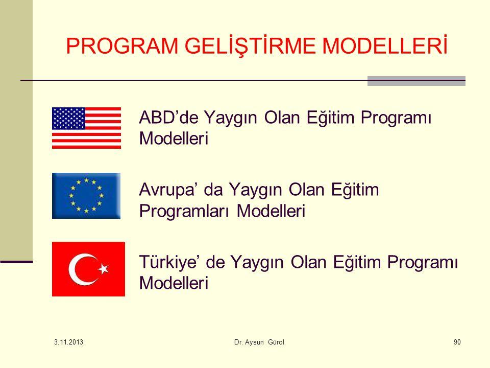 ABD'de Yaygın Olan Eğitim Programı Modelleri Avrupa' da Yaygın Olan Eğitim Programları Modelleri Türkiye' de Yaygın Olan Eğitim Programı Modelleri PROGRAM GELİŞTİRME MODELLERİ 3.11.2013 Dr.