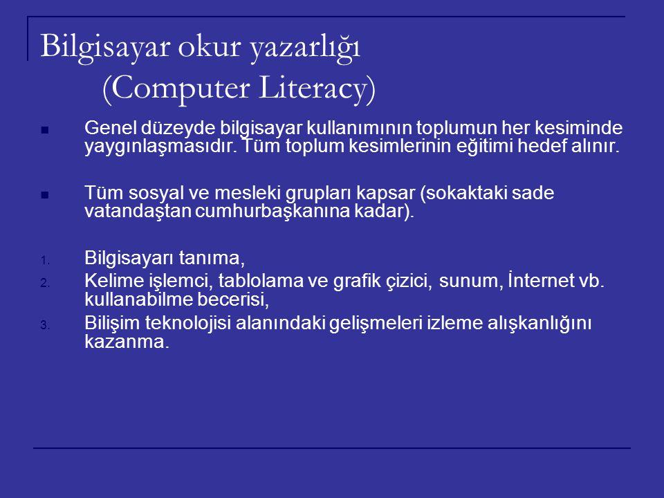 Bilgisayar okur yazarlığı (Computer Literacy) Genel düzeyde bilgisayar kullanımının toplumun her kesiminde yaygınlaşmasıdır. Tüm toplum kesimlerinin e