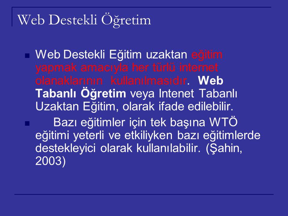 Web Destekli Öğretim Web Destekli Eğitim uzaktan eğitim yapmak amacıyla her türlü internet olanaklarının kullanılmasıdır. Web Tabanlı Öğretim veya Int