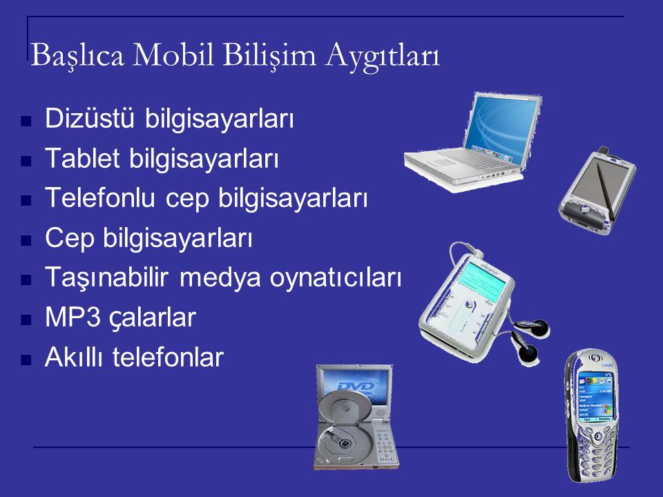 Başlıca Mobil Bilişim Aygıtları Diz ü st ü bilgisayarları Tablet bilgisayarları Telefonlu cep bilgisayarları Cep bilgisayarları Taşınabilir medya oyna