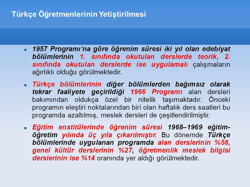 Türkçe Öğretmenlerinin Yetiştirilmesi 1957 Programı'na göre öğrenim süresi iki yıl olan edebiyat bölümlerinin 1.