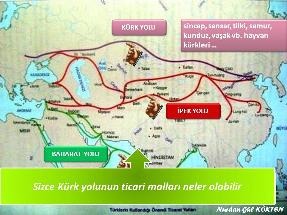 KÜRK YOLU Yukarıdaki haritada Türkleri kullandığı ticaret yollarının isimlerini söyleyiniz İPEK YOLU BAHARAT YOLU Sizce Kürk yolunun ticari malları neler olabilir sincap, sansar, tilki, samur, kunduz, vaşak vb.